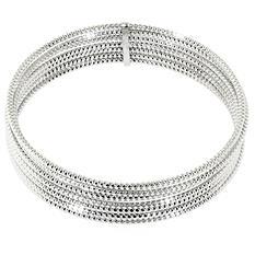 Sterling Silver Diamond Cut Bangle Bracelets Set of 7