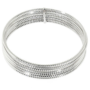 Sterling Silver Diamond Cut Bangle Bracelets Set of 7