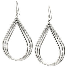 Sterling Silver Diamond Cut Triple Row Teardrop Earrings