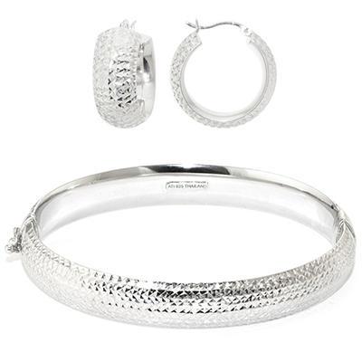 Diamond Cut Sterling Silver Bangle & Hoop Earring Set