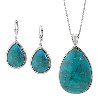 Sterling Silver Turquoise Earring and Pendant Set
