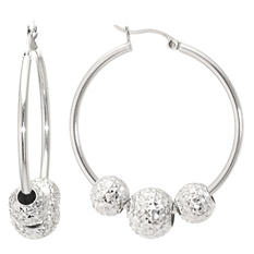 Sterling Silver 35 mm Hoop Earrings with Diamond Cut Beads
