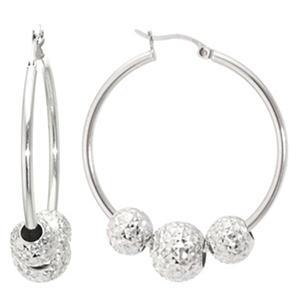 Sterling Silver 35 mm Hoop Earrings with Diamond Cut Beads