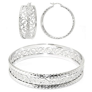 Sterling Silver Diamond Cut Vine Hoop Earring and Bangle Set