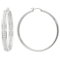 Sterling Silver 45MM Beaded Channel Hoop Earrings