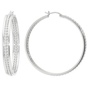 Sterling Silver 45MM Beaded Channel Hoop Earrings