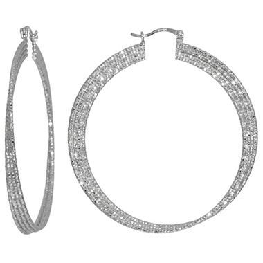 Sterling Silver 56mm Diamond Cut Hoop Earrings