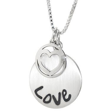 "Sterling Silver ""LOVE"" Disc Charm Pendant"