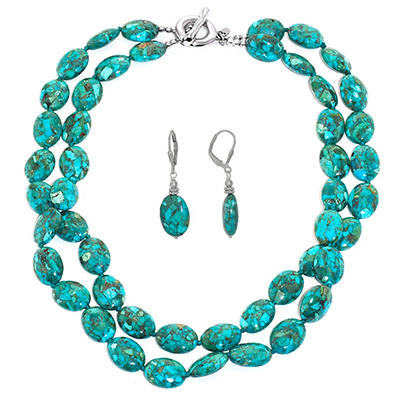 Turquoise and Sterling Silver Oval Necklace and Earring Set