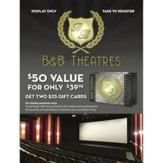 B&B Theatres $50 Gift Card - 2/$25 for $39.98
