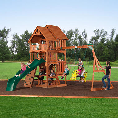Highlander Deluxe Cedar Swing/Play Set with Slide Original Price $1099.00 Save $200.00