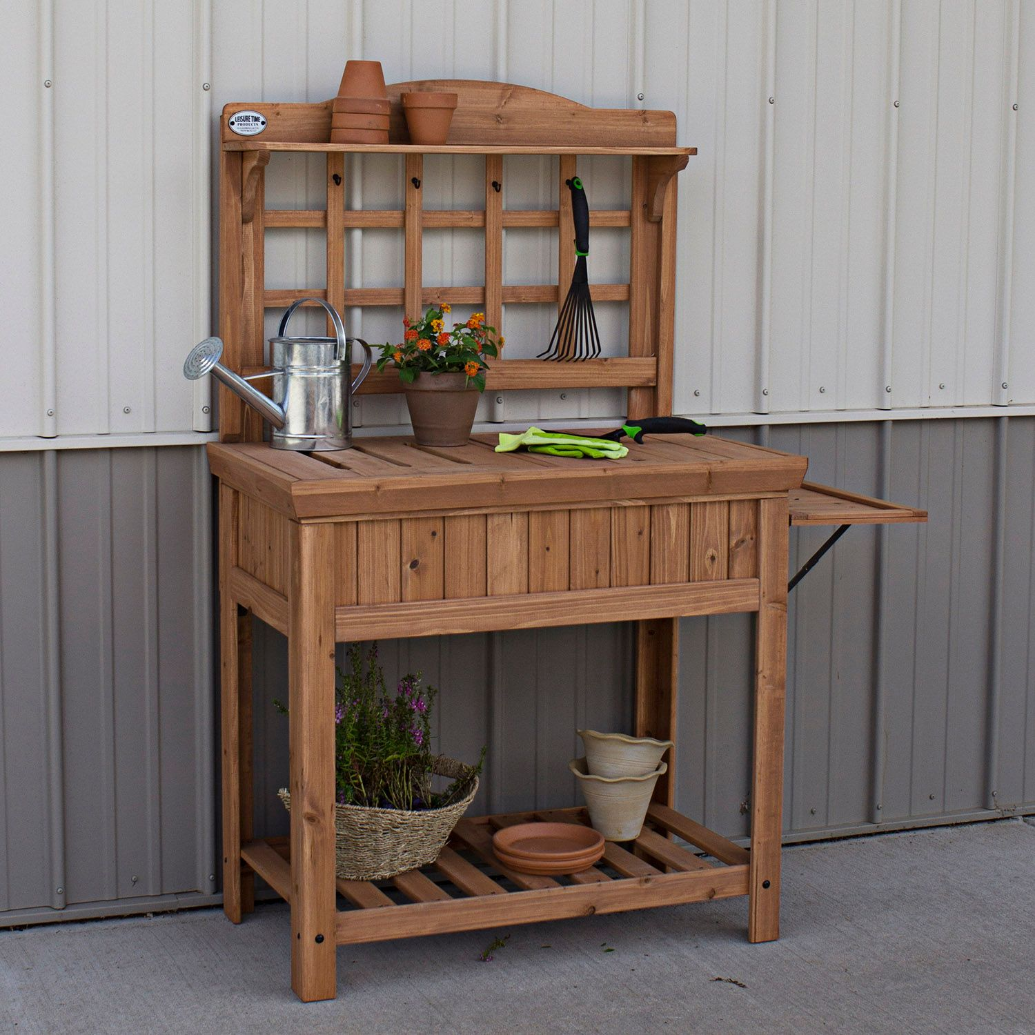 Garden Potting Bench: Garden Work Station Plant Soil Pot Solid Wood Construction