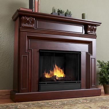 Kristine Ventless Gel Fireplace - Dark Mahogany