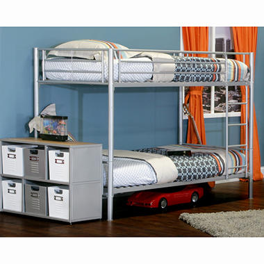 Silver Metal Twin Over Twin Bunk Bed