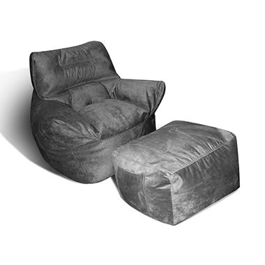 Chair and Ottoman Luxe Lounger - Charcoal