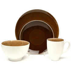 Crackle 32-Piece Taupe Dinnerware Set