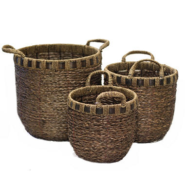 Seagrass Baskets With Seagrass Ear Handle  15011-ST3