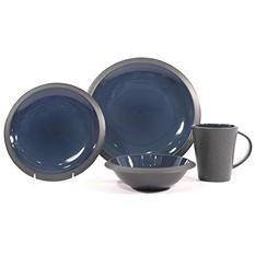 Metro 32-Piece Dinnerware Set Blue