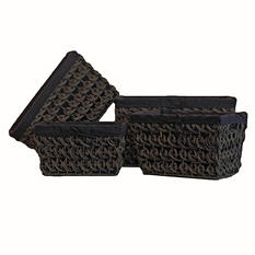 Seagrass Basket With Chocolate Liner - 3 PC Set