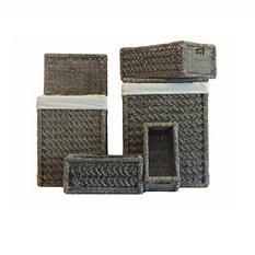 5 Pc Seagrass Hamper Set - Coin Weave