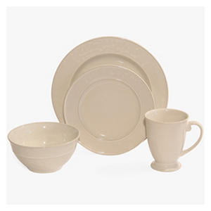 Baum 32-Piece Hammered Ivory Dinnerware Set