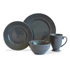 Baum 32-Piece Hammered Charcoal Dinnerware Set