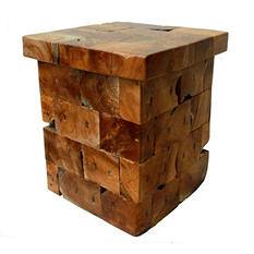 Stacked Teak Wood End Table