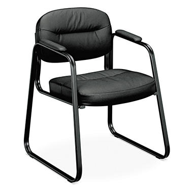 basyx by HON - VL653 Guest Side Chair - Black Leather/Black Frame