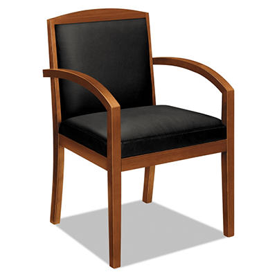 basyx by HON - Leather/Wood Guest Chair - Black Leather Upholstery with Mahogany Veneer Frame