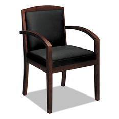 basyx by HON - Leather/Wood Guest Chair - Black Leather Upholstery with Cherry Veneer Frame