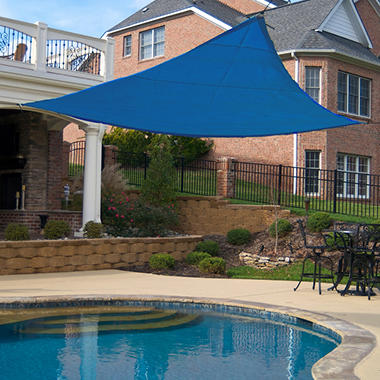 King Canopy Triangular Sun Shade Sail - Blue - 16' x 16'