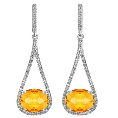 Oval-Shaped Citrine Dangle Earrings with Diamonds in 14K White Gold (H-I, I1)