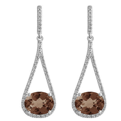 Oval-Shaped Smokey Quartz Dangle Earrings with Diamonds in 14K White Gold (H-I, I1)