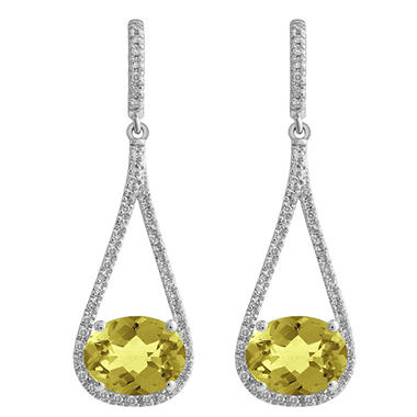 Oval-Shaped Lemon Quartz Dangle Earrings with Diamonds in 14K White Gold (H-I, I1)