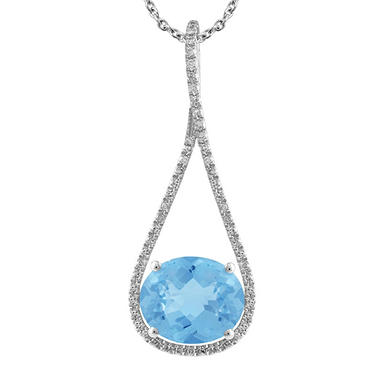 Oval-Shaped Blue Topaz Drop Pendant with DIamonds in 14K White Gold (H-I, I1)