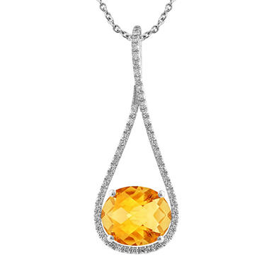 Oval-Shaped Citrine Drop Pendant with Diamonds in 14K White Gold (H-I, I1)