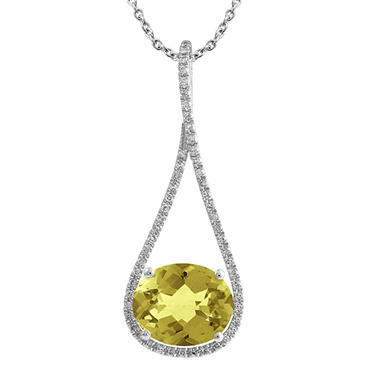 Oval-Shaped Lemon Quartz Drop Pendant with Diamonds in 14K White Gold (H-I, I1)