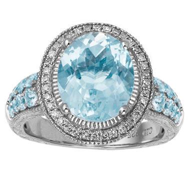 Oval-Cut Blue Topaz & Diamond Ring in Sterling Silver