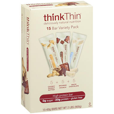 thinkThin® Protein Bar Variety Pack - 60g - 15 pk.