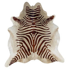 Natural Cowhide Rug, Brown Zebra Print