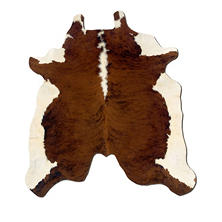 Natural Cowhide Rug, Medium Brown & White