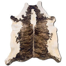 Natural Cowhide Rug, Dark Brown & White
