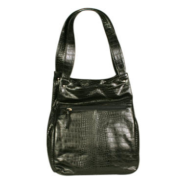 Simply Nina by Nina Raye Genuine Crocodile Embossed Lambskin Leather Handbag