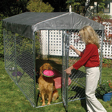 Lucky Dog Chain Link Kennel with Cover - 10'L x 5'W x 6'H