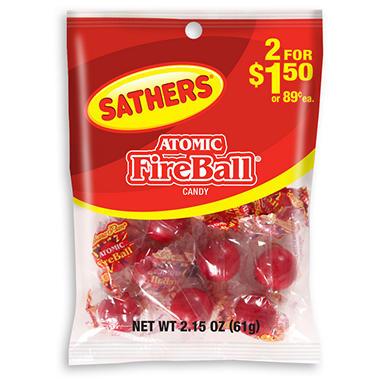 Sathers Atomic Fireballs - 2.15 oz. Bag - 12 ct.