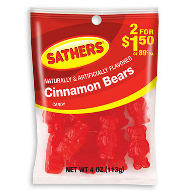 Sathers Cinnamon Bears - 4.0 oz. Bag - 12 ct.