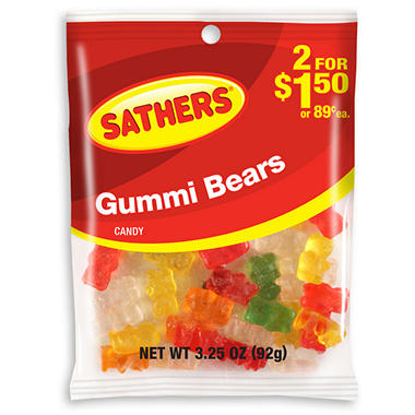 Sathers Gummi Bears - 3.25 oz. Bag - 12 ct.