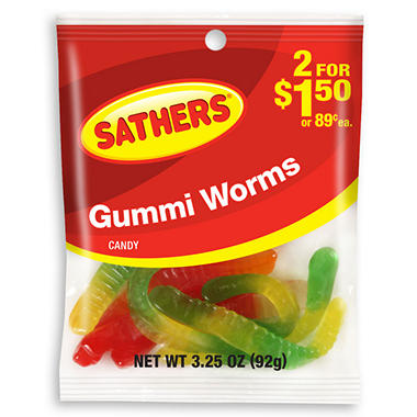 Sathers Gummi Worms - 3.25 oz. Bag - 12 ct.