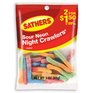 Sathers Sour Neon Nightcrawlers - 3.0 oz. Bag - 12 ct.