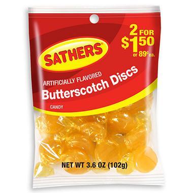 Sathers Butterscotch - 3.6 oz. Bag - 12 ct.